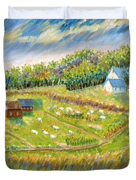 Farm With Sheep Duvet Cover by Patricia Eyre