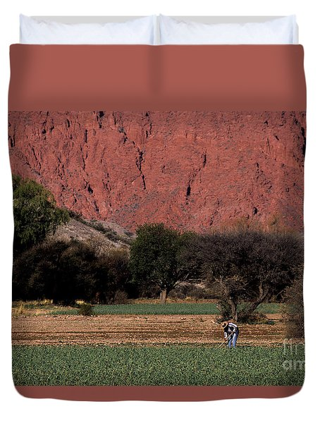 Farmer In Field In Northern Argentina Duvet Cover by James Brunker