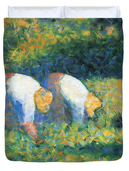 Farmers At Work Duvet Cover by Georges Seurat