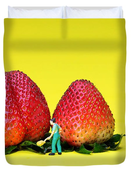 Farmers Working Around Strawberries Duvet Cover