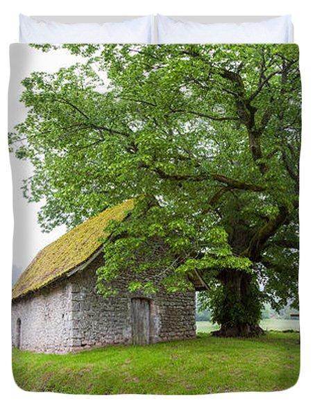 Farmhouse In A Field, Chapelle Du Mas Duvet Cover