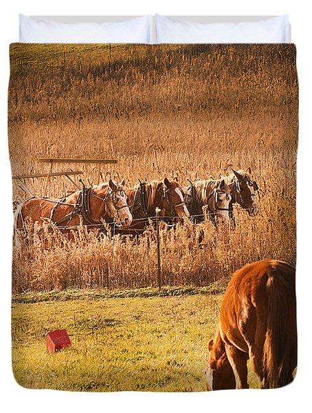 Farming  Modes Of Transportation Duvet Cover by Randall Branham