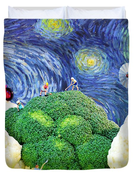 Farming On Broccoli And Cauliflower Under Starry Night Duvet Cover