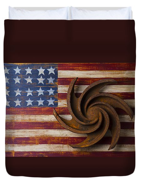 Farming Tool On American Flag Duvet Cover by Garry Gay