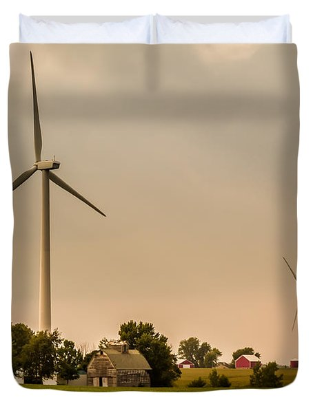 Farms And Windmills Duvet Cover