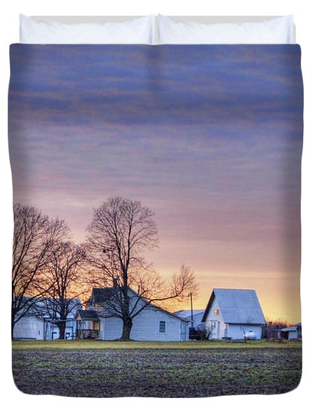 Farmstead At Sunset Duvet Cover