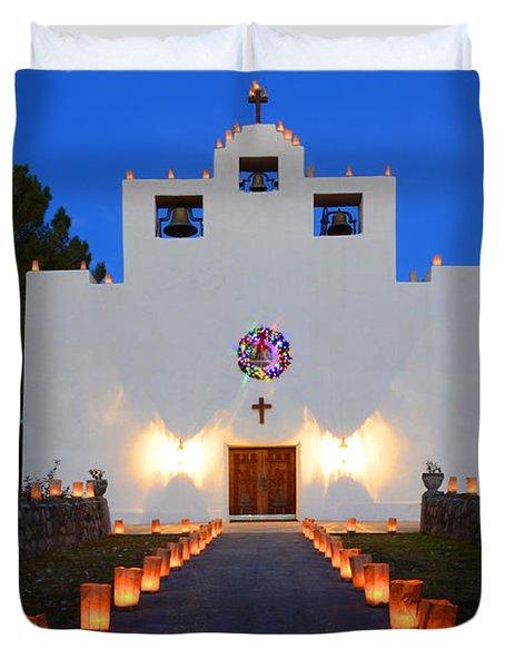 Farolitos Saint Francis De Paula Mission Duvet Cover by Bob Christopher
