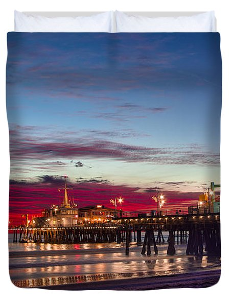 Ferris Wheel On The Santa Monica California Pier At Sunset Fine Art Photography Print Duvet Cover by Jerry Cowart