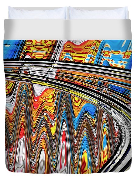 Duvet Cover featuring the digital art Highway To Nowhere Abstract by Gabriella Weninger - David