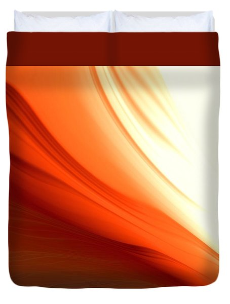 Duvet Cover featuring the digital art Glowing Orange Abstract by Gabriella Weninger - David