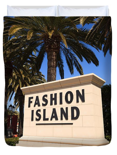 Fashion Island Sign In Orange County California Duvet Cover by Paul Velgos