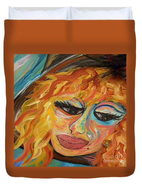 Fashionista - Mysterious Red Head Duvet Cover by Eloise Schneider