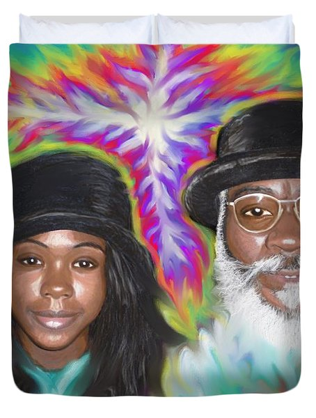 Duvet Cover featuring the painting Father And Daughter Spirit Ministry  by Hidden  Mountain