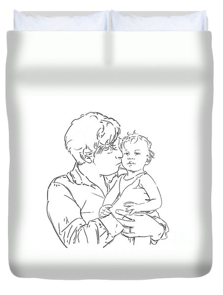 Duvet Cover featuring the drawing Father And Son by Olimpia - Hinamatsuri Barbu