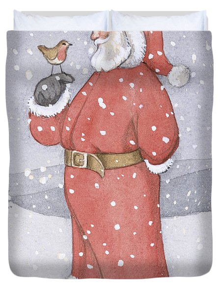 Father Christmas And A Robin Duvet Cover by Lavinia Hamer