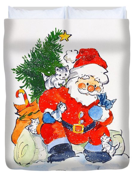 Father Christmas And Kittens, 1996  Duvet Cover