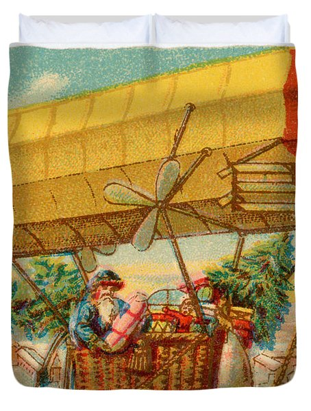 Father Christmas In Airship Duvet Cover by Mary Evans