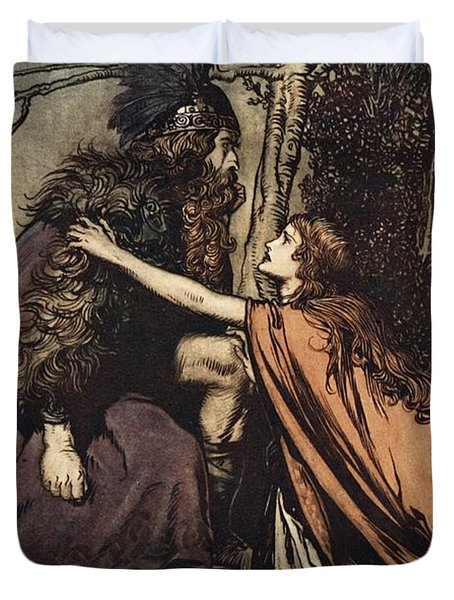 Father Father Tell Me What Ails Thee With Dismay Thou Art Filling Thy Child Duvet Cover by Arthur Rackham