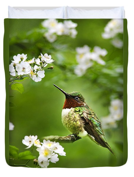 Fauna And Flora - Hummingbird With Flowers Duvet Cover by Christina Rollo