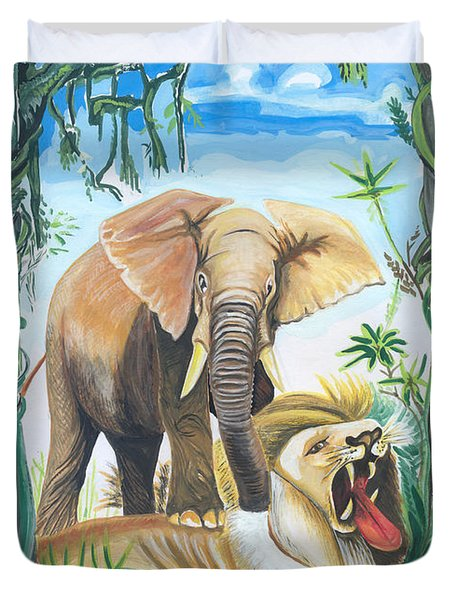 Duvet Cover featuring the painting Faune D'afrique Centrale 01 by Emmanuel Baliyanga