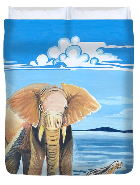 Duvet Cover featuring the painting Faune D'afrique Centrale 02 by Emmanuel Baliyanga