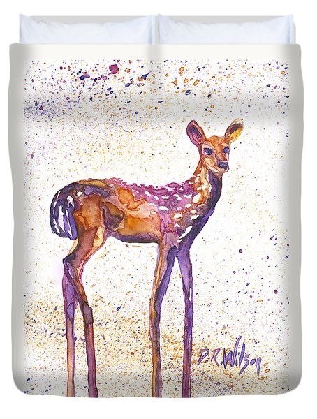 Duvet Cover featuring the painting Fawn Rising by D Renee Wilson