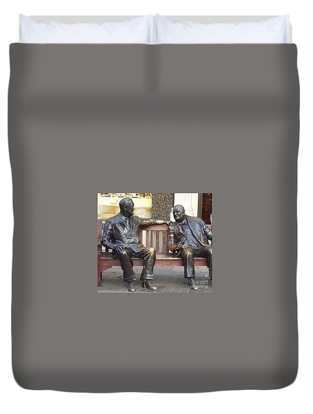 Fdr And Churchill Having A Chat In London Duvet Cover