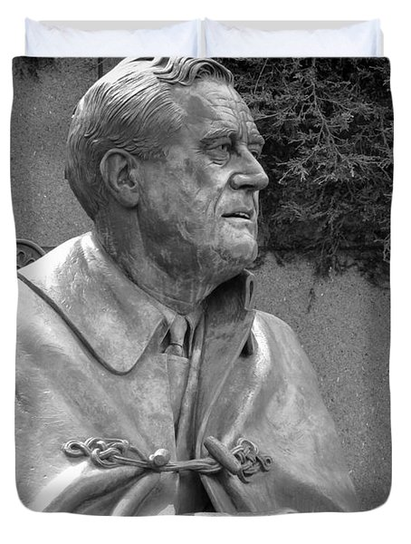 Fdr Statue At Fdr Memorial Duvet Cover