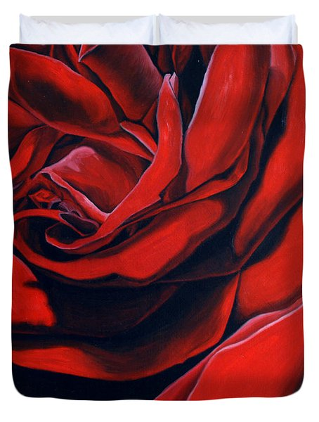 Duvet Cover featuring the painting February Rose by Thu Nguyen