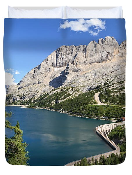 Duvet Cover featuring the photograph Fedaia Pass With Lake by Antonio Scarpi