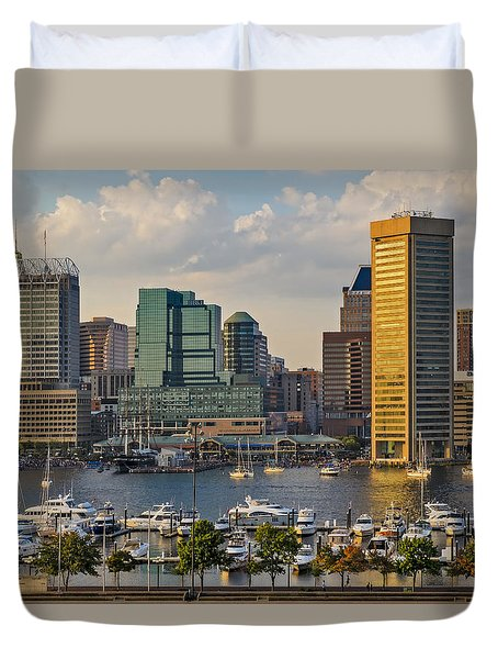 Federal Hill View To The Baltimore Skyline Duvet Cover