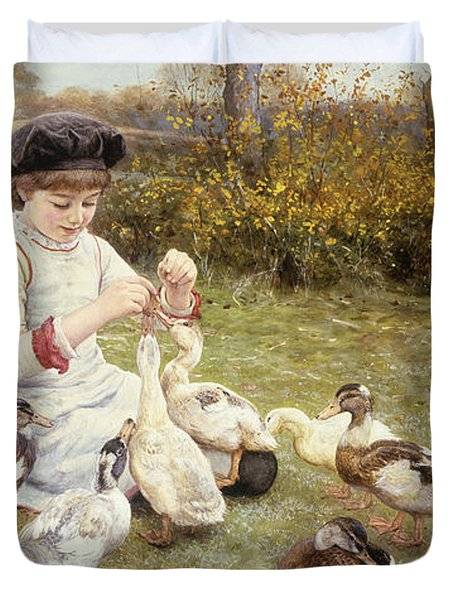 Feeding Ducks Duvet Cover by Edward Killingworth Johnson