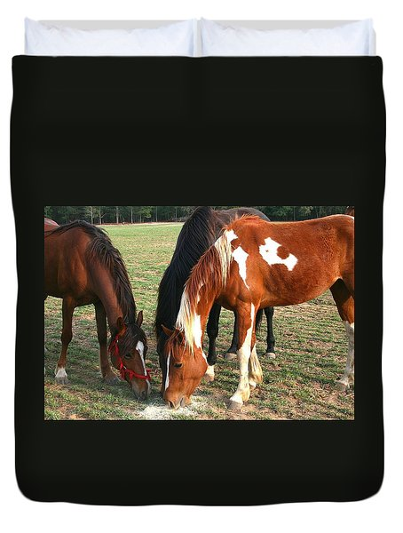 Feeding Horses Duvet Cover by Cathy Harper