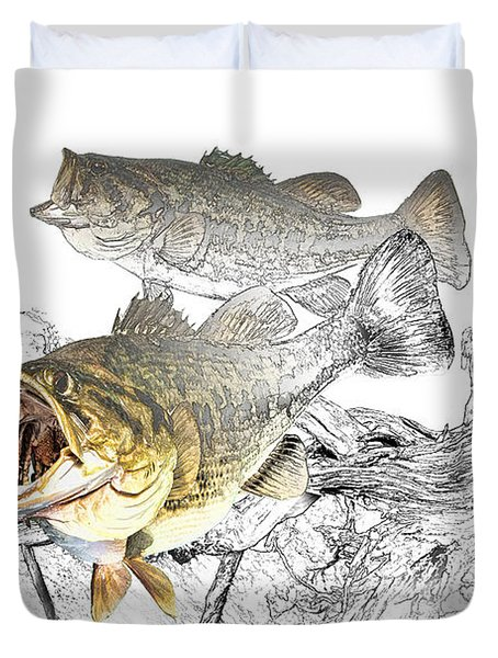 Feeding Largemouth Black Bass Duvet Cover by Randall Nyhof
