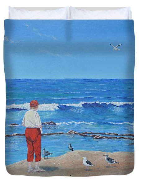 Duvet Cover featuring the painting Feeding The Birds by Mary Scott
