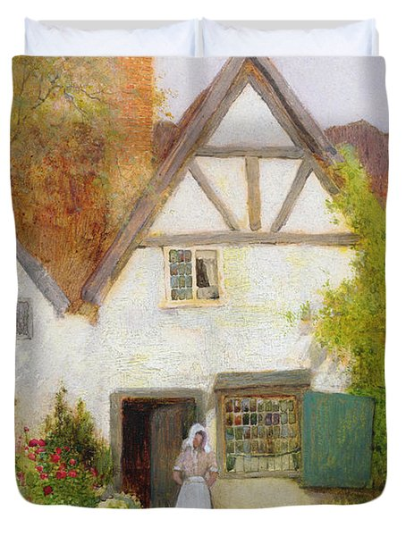 Feeding The Cat Duvet Cover by Arthur Claude Strachan