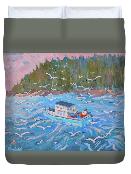 Duvet Cover featuring the painting Feeding The Flock by Francine Frank