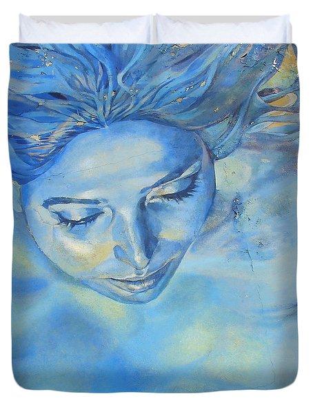 Feeling Blue Duvet Cover by Ramona Johnston
