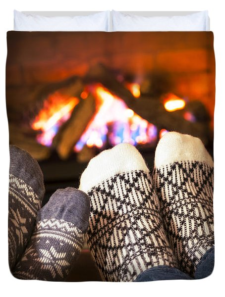 Feet Warming By Fireplace Duvet Cover by Elena Elisseeva