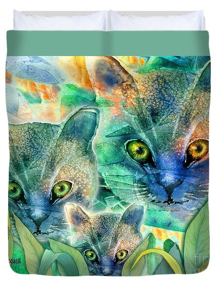 Duvet Cover featuring the painting Feline Family by Teresa Ascone