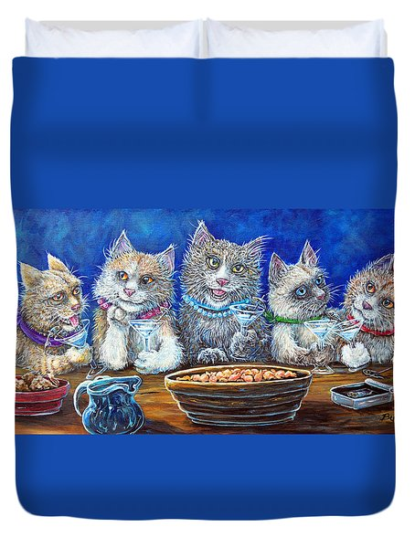 Felines After Five Duvet Cover by Gail Butler