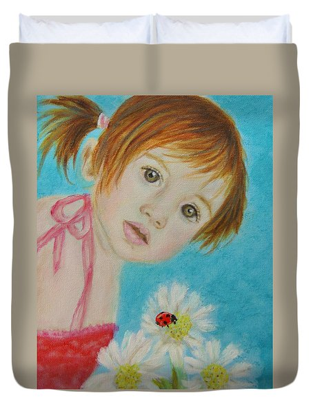 Felisa Little Angel Of Happiness And Luck Duvet Cover by The Art With A Heart By Charlotte Phillips