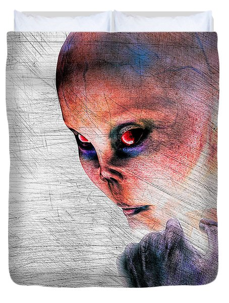 Female Alien Portrait Duvet Cover by Bob Orsillo