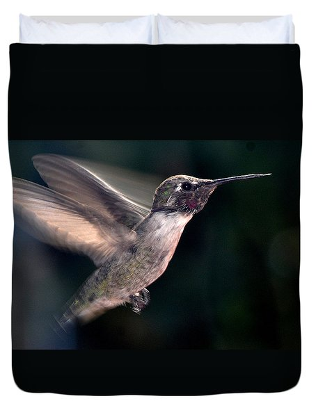 Duvet Cover featuring the photograph Male Anna In Flight by Jay Milo
