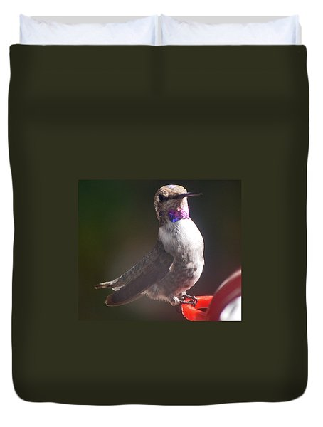 Duvet Cover featuring the photograph Female Anna On Perch by Jay Milo