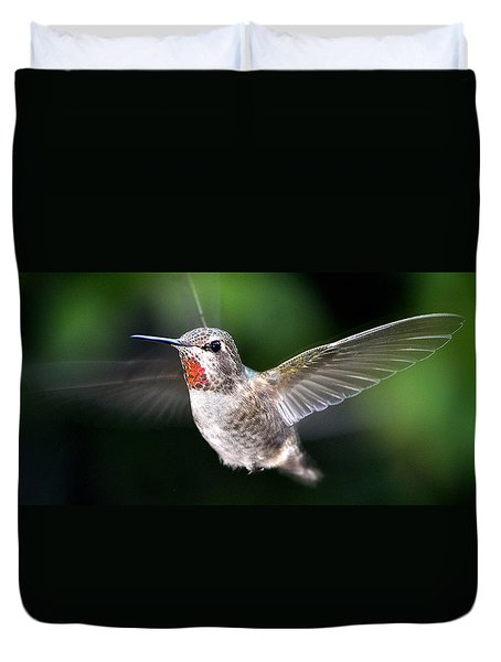 Duvet Cover featuring the photograph Female Caliope Hummingbird In Flight by Jay Milo