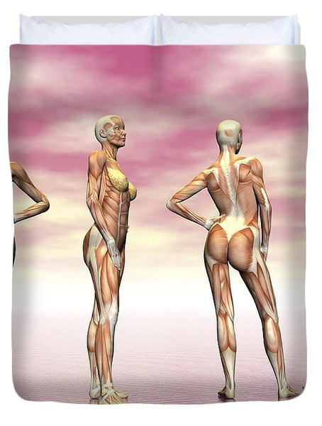 Female Muscular System From Four Points Duvet Cover