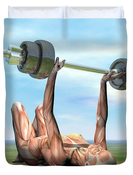 Female Musculature Exercising Duvet Cover by Elena Duvernay