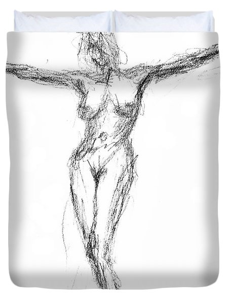 Female Nude In The Pose As Jesus Christ Crucifix  - Pencil Drawing Duvet Cover by Nenad Cerovic