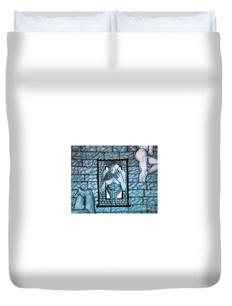 Duvet Cover featuring the painting Female's Gray World by Fei A